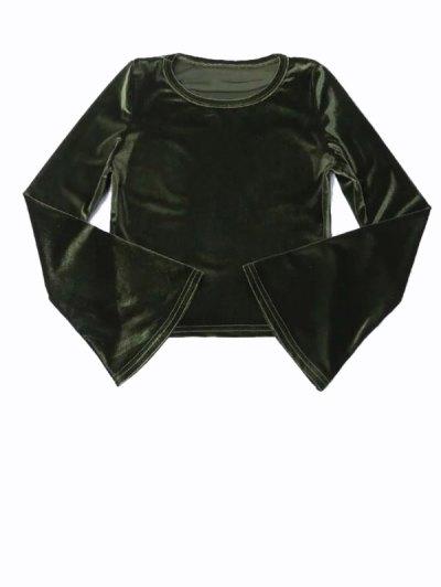 Flared Sleeve Velvet Crop Top - DEEP GREEN M Mobile
