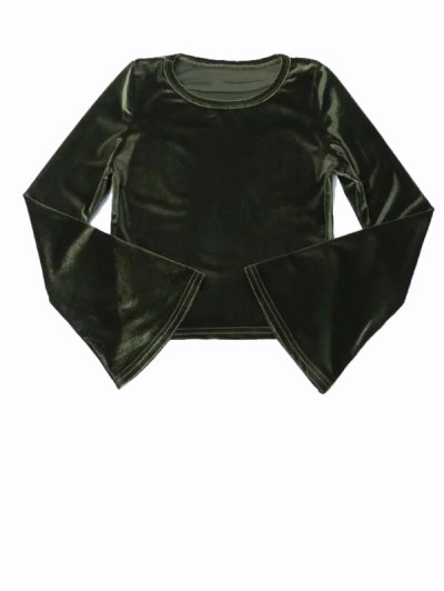 Flared Sleeve Velvet Crop Top - DEEP GREEN S Mobile