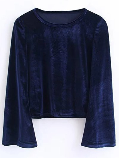 Flared Sleeve Velvet Crop Top - CADETBLUE M Mobile