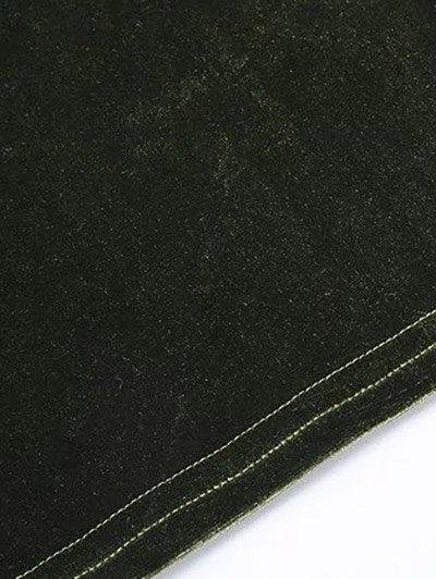 Flared Sleeve Velvet Crop Top - CADETBLUE S Mobile