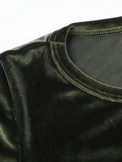 Flared Sleeve Velvet Crop Top - PEACOCK BLUE S Mobile