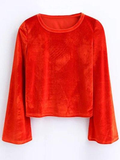 Flared Sleeve Velvet Crop Top - JACINTH M Mobile