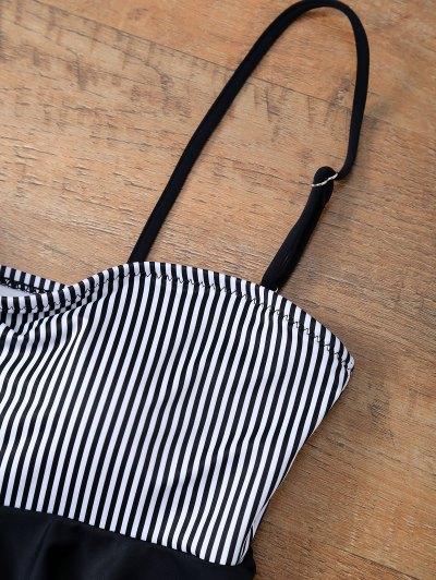 Flounced Striped Bikini Set - BLACK S Mobile