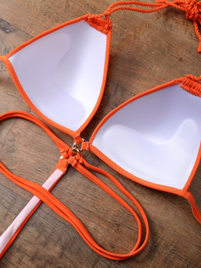 Strappy High Cut One-Piece Swimwear - ORANGEPINK XL Mobile