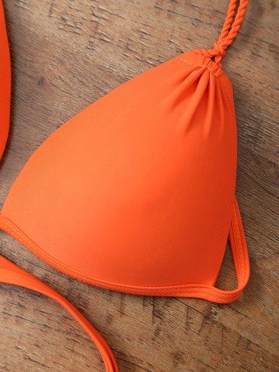 Strappy High Cut One-Piece Swimwear - ORANGEPINK M Mobile
