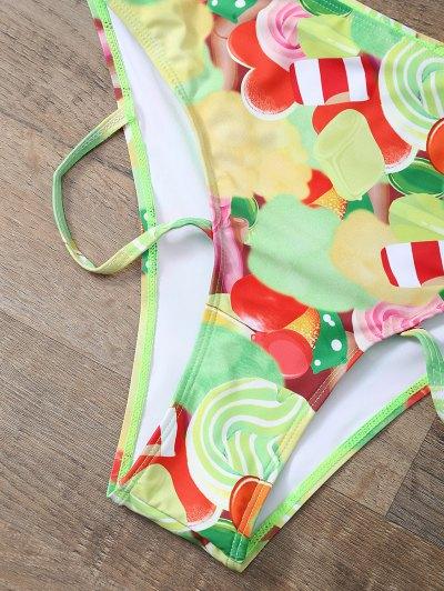 Cutout Printed Bikini Set - YELLOW XL Mobile