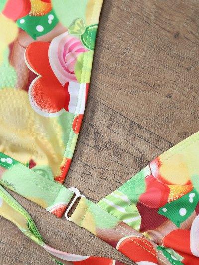 Cutout Printed Bikini Set - YELLOW S Mobile
