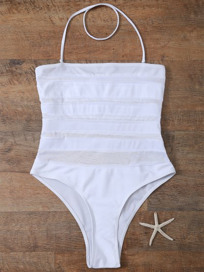 Halter One-Piece See Through Bathing Suit - WHITE L Mobile