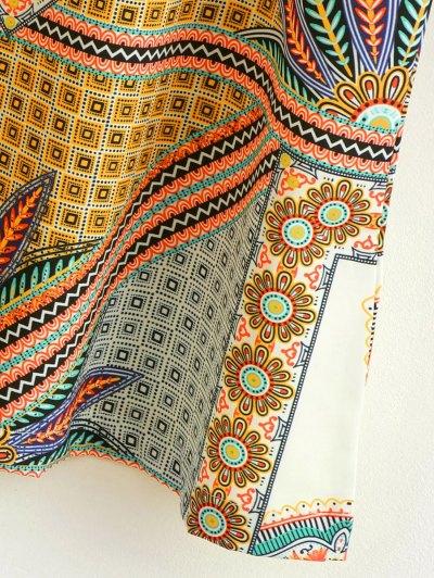 Printed Ethnic Style Ralgan Sleeve Mini Dress - BROWN L Mobile