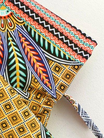 Printed Ethnic Style Ralgan Sleeve Mini Dress - BROWN M Mobile