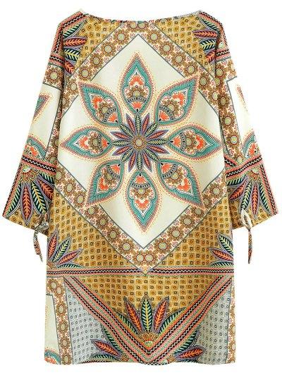 Printed Ethnic Style Ralgan Sleeve Mini Dress - BROWN S Mobile