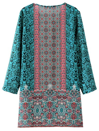 Printed Vintage Long Sleeve A-Line Dress - GREEN S Mobile