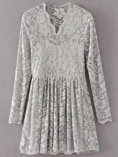 Lace V Neck Dress - GRAY S Mobile