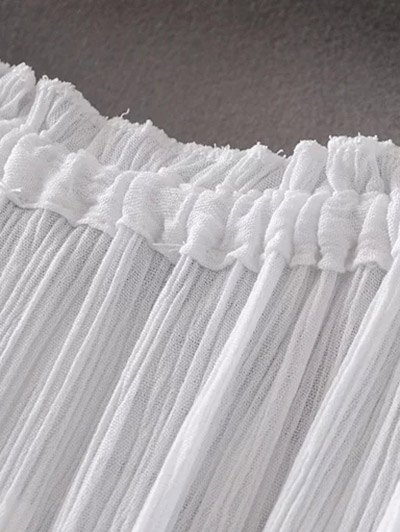 Embroidered Off Shoulder Blouse - WHITE L Mobile