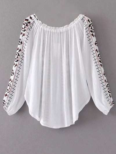 Embroidered Off Shoulder Blouse - WHITE M Mobile
