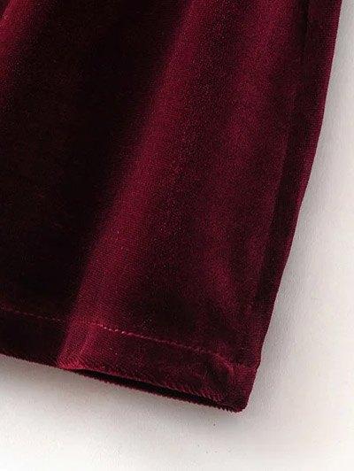 Cut Out Bell Sleeve Velvet Dress - BURGUNDY M Mobile