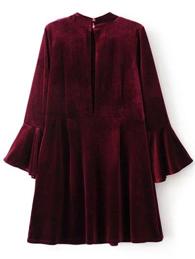 Cut Out Bell Sleeve Velvet Dress - BURGUNDY S Mobile