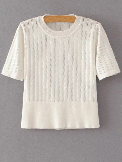 Short Sleeve Hollow Out Cropped Knitwear - OFF-WHITE M Mobile