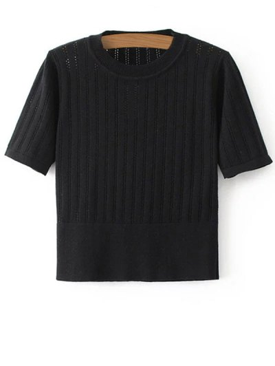 Short Sleeve Hollow Out Cropped Knitwear - BLACK S Mobile