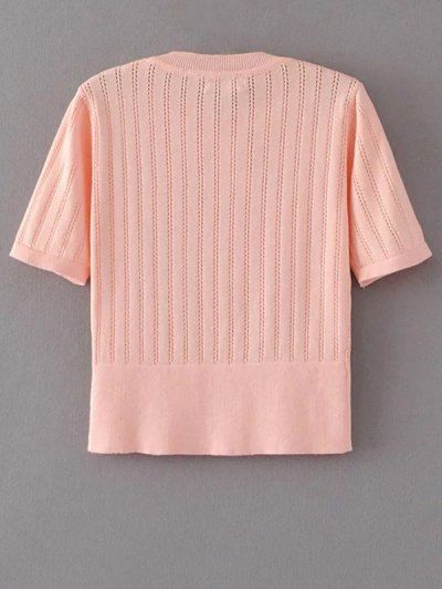 Short Sleeve Hollow Out Cropped Knitwear - PAPAYA M Mobile