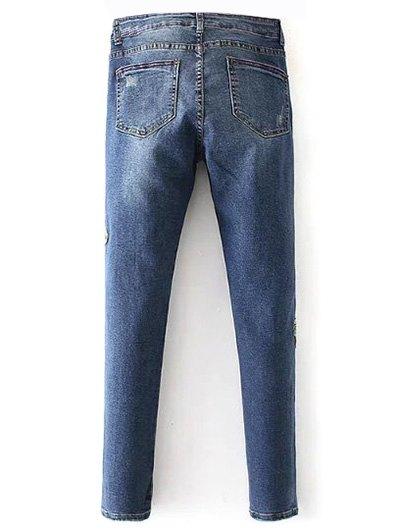 Dark Wash Frayed Floral Embroidered Jeans - DEEP BLUE L Mobile