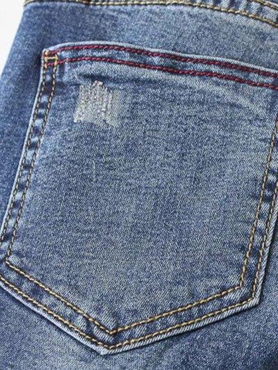 Dark Wash Frayed Floral Embroidered Jeans - DEEP BLUE S Mobile