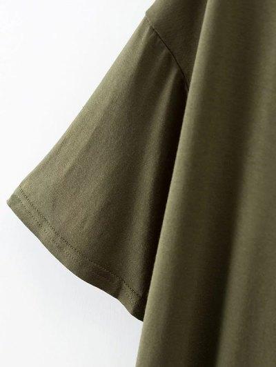 Choker Drop Shoulder T-Shirt - CADETBLUE L Mobile