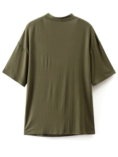 Choker Drop Shoulder T-Shirt - GREYISH GREEN L Mobile