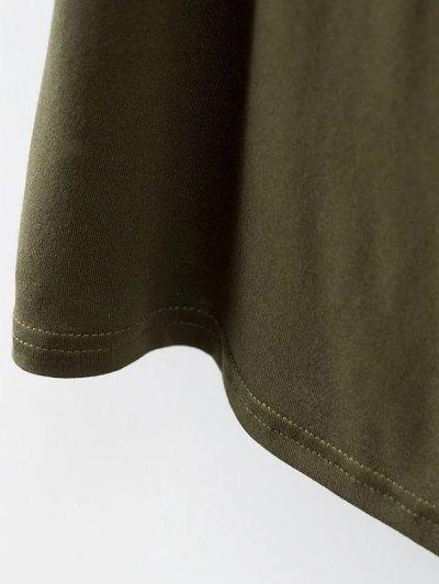 Choker Drop Shoulder T-Shirt - GREYISH GREEN S Mobile