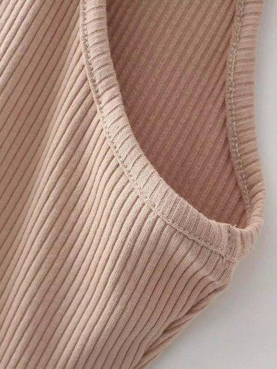 Slit Sleeveless Bodycon Ribbed Dress - GRAY ONE SIZE Mobile