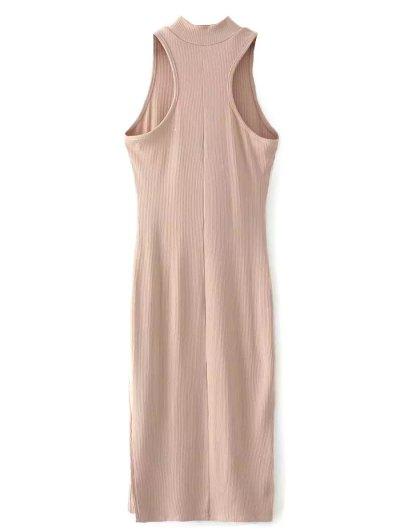 Slit Sleeveless Bodycon Ribbed Dress - LIGHT CAMEL ONE SIZE Mobile