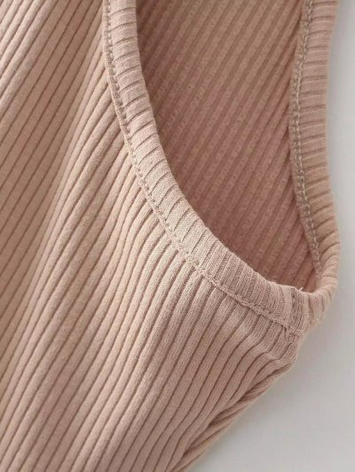 Slit Sleeveless Bodycon Ribbed Dress - CAMEL ONE SIZE Mobile