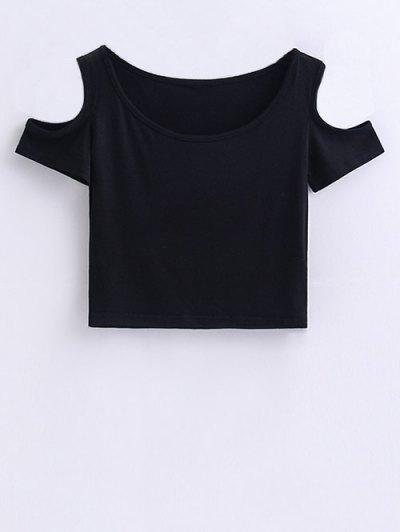 Cold Shoulder Crop Tee - BLACK S Mobile