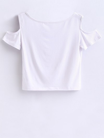 Cold Shoulder Crop Tee - WHITE M Mobile