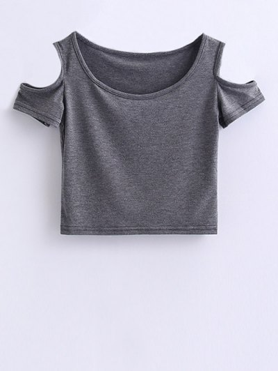 Cold Shoulder Crop Tee - GRAY S Mobile