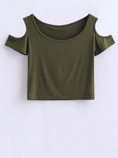 Cold Shoulder Crop Tee - ARMY GREEN M Mobile