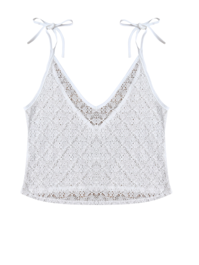 V Neck Backless Lace String Top - WHITE XL Mobile