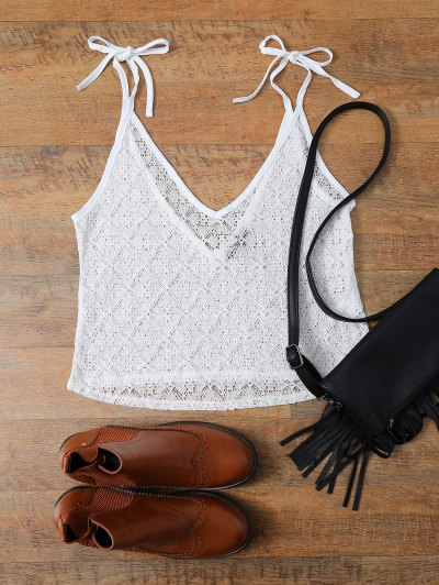 V Neck Backless Lace String Top - WHITE L Mobile