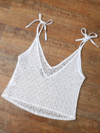V Neck Backless Lace String Top - WHITE M Mobile