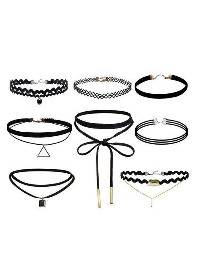 Geometric Vintage Bar Choker Necklace Set - BLACK  Mobile