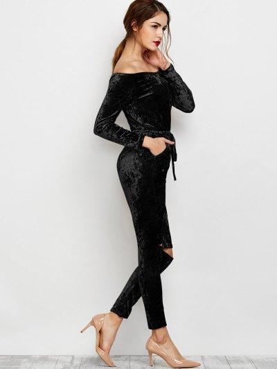Ripped Off Shoulder Velvet Jumpsuit - BLACK S Mobile
