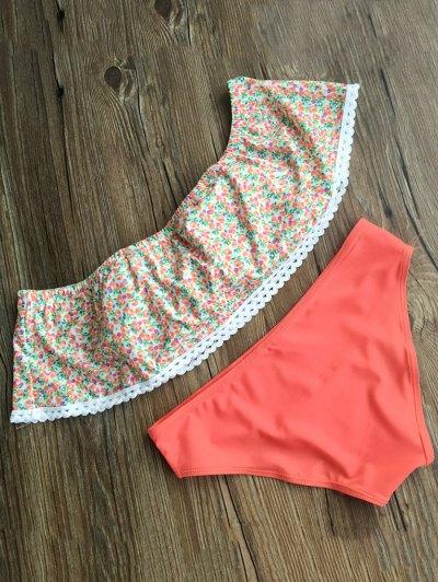 Off Shoulder Tiny Floral Swimsuit - JACINTH XL Mobile