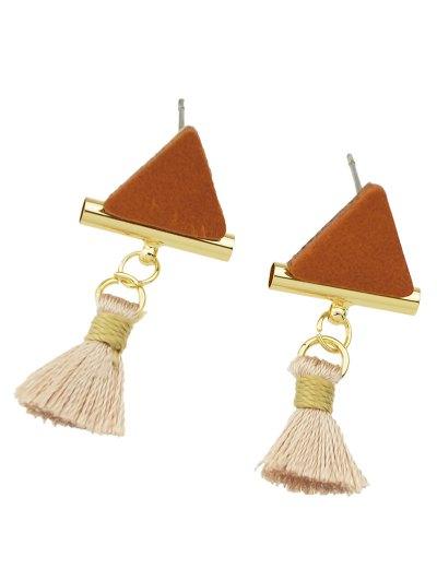 Tassel Triangle Earrings - BROWN  Mobile