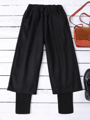Elastic Waist Layered Wide Leg Pants - Black