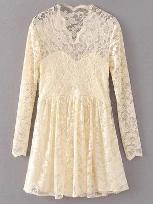 Lace V Neck Dress - Palomino