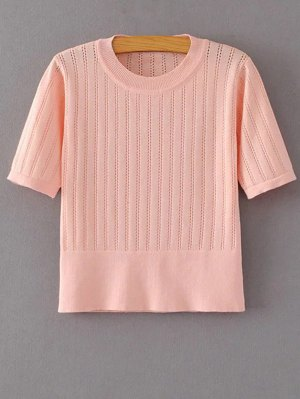 Short Sleeve Hollow Out Cropped Knitwear - Papaya