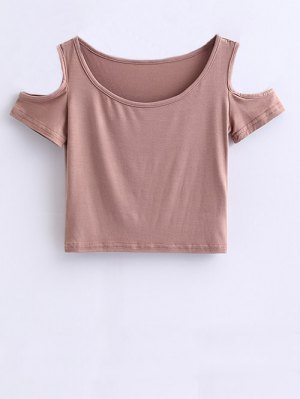Cold Shoulder Crop Tee - Pale Pinkish Grey