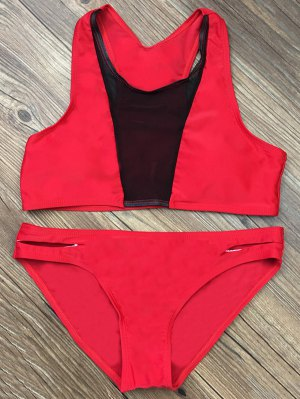 Color Block Mesh Panel Bikini Set - Red