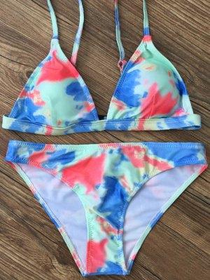 Plunging Neck Tie Dye Bikini Set - Green