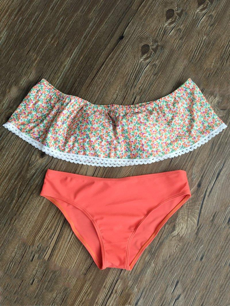 Off Shoulder Tiny Floral Swimsuit